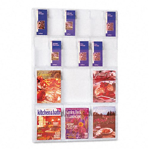 Safco : Reveal 18-Pocket Plastic Display, 6 Magazine/12 Pamphlet Racks, Clear -:- Sold as 2 Packs of - 1 - / - Total of 2 Each (Safco 12 Pamphlet Pocket Display)