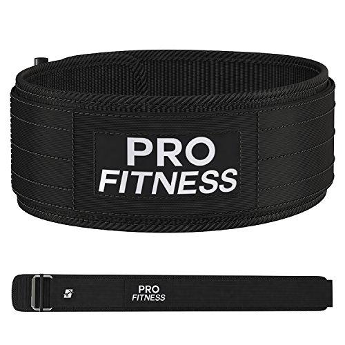 ProFitness 4 Inch Wide Weight Lifting Belt (Medium, Black/White)