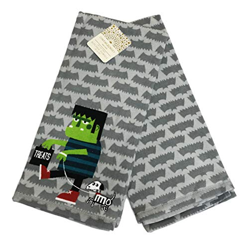 Cynthia Rowley Frankenstein Trick Treating Set Two Happy Halloween Themed Decorative Kitchen Hand Towel Set -