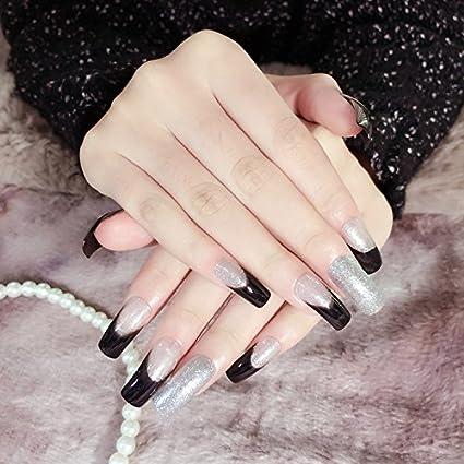 yunail Chirstmas negro purpurina uñas postizas media luna ...
