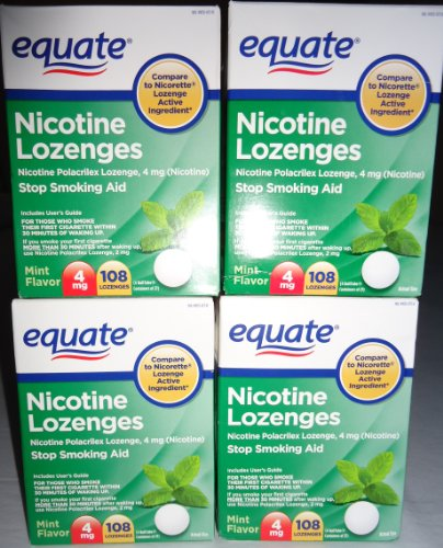 Equate - Nicotine Lozenge 4 mg, Mint Flavor, 108 Lozenges,PACK OF (Commit Stop Smoking Lozenges Mint)