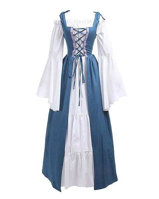 Vestiti Donna Cosplay Abiti Costumi Medievali Vestito Medioevo Lungo qUTqHP