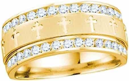 14k Yellow Gold Mens Round Diamond Grecco Christian Cross Wedding Anniversary Band Ring 1.00 Cttw