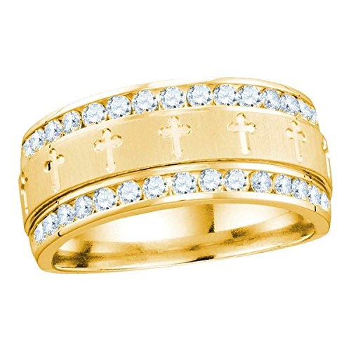 14k Gold Mens Diamond Cross (14k Yellow Gold Mens Round Diamond Grecco Christian Cross Wedding Anniversary Band Ring 1.00 Cttw)