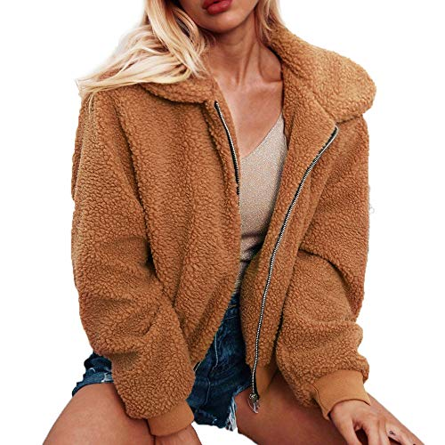 Clearance!Women Fashion CoatWomen Elegant Faux Fur Ostrich Feather Soft Short Fluffy Parka Jacket Tops(L,Brown)