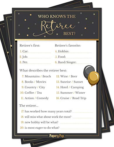 (Who Knows the Retiree Best Game Cards (50 Pack) - Retirement Party Games Ideas Activities Supplies)