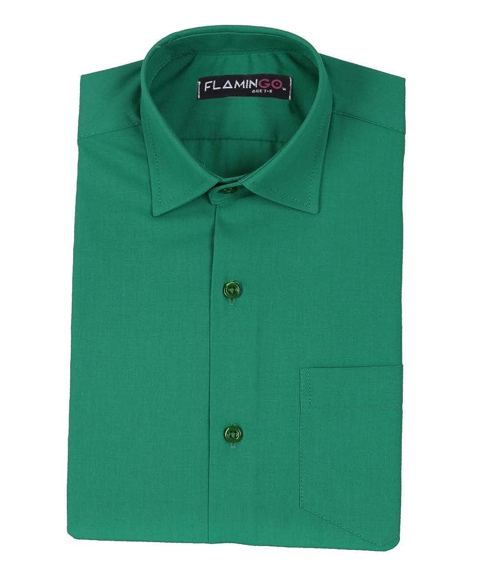 Boys Kids Cotton Slim Fit Classic Formal Dark Green Shirt