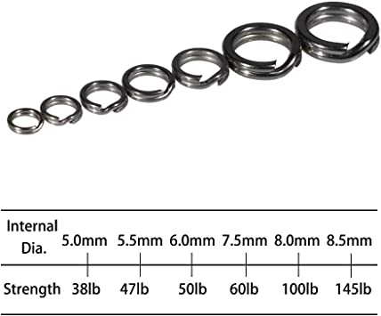 7 - Sizes YOTO 100pcs / /High Strength Heavy Stainless Steel Split Rings Double Snap Loop Lure Tackle Connector