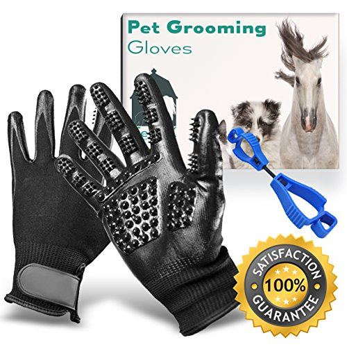 Pet Grooming Glove,Pet Grooming Gloves,Pet Grooming Glove Set - Rubber Nubbed Anti Hair Pulling Pet Grooming Gloves By TeneX - Dogs,Cats,Horses,Cows,Two Handed Pet Massage,Increased Blood Circulation by TeneX Pet Company