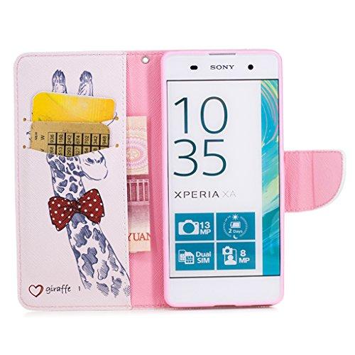 Trumpshop Smartphone Carcasa Funda Protección para Sony Xperia XA1 + Kiss My Ass + PU Cuero Caja Protector Billetera con Cierre magnético Choque Absorción Jirafa