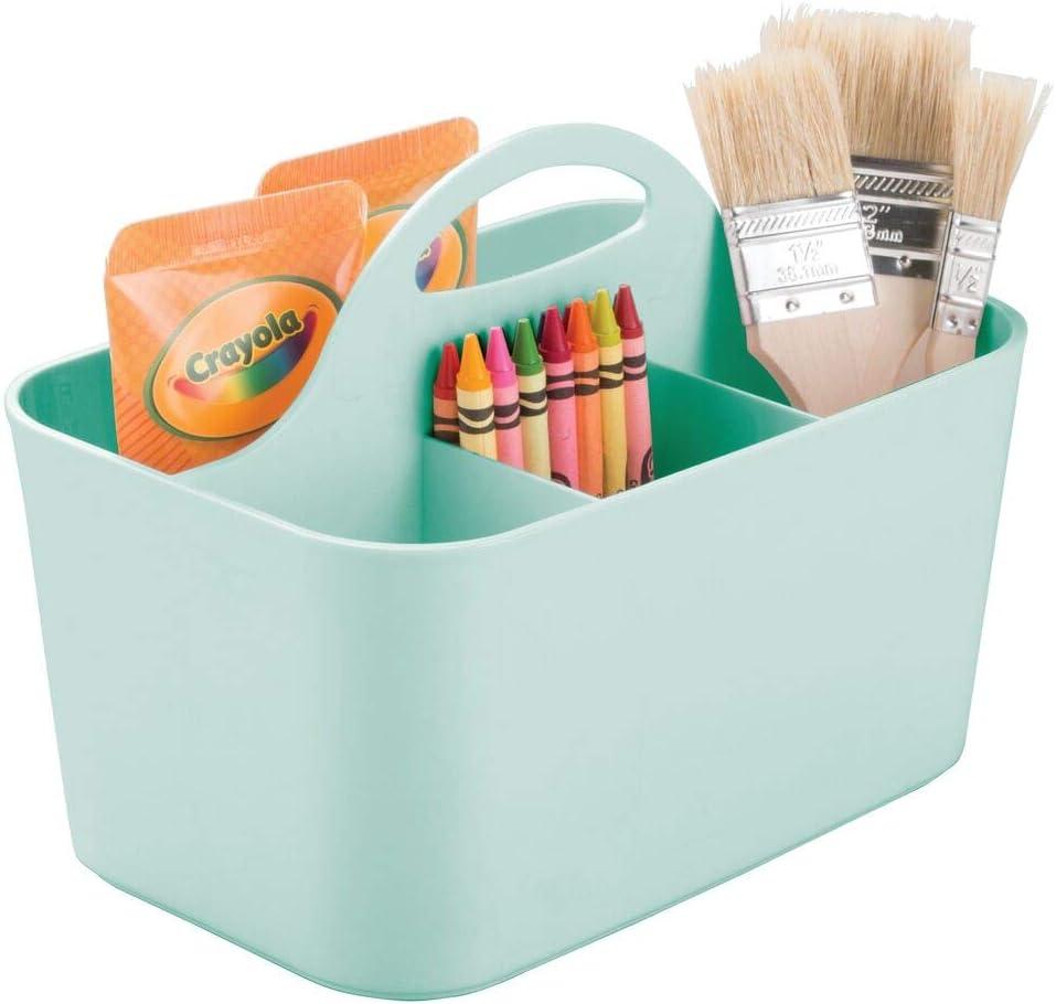 mDesign Cesta de plástico portátil – Cestas de almacenaje pequeñas para Manualidades o como costurero – Organizador de lápices, Botones, Tijeras y Pinturas – Verde Menta