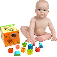 Toy Cubby Toddler Baby Natural Wooden Shape and Number Sorter Cube Non Toxic Paint