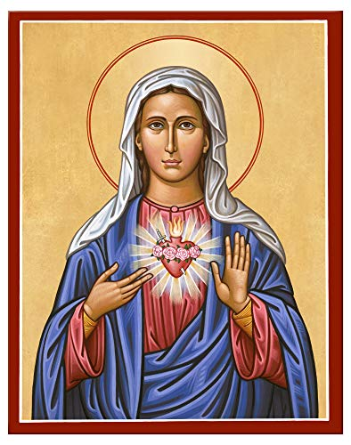 (Monastery Icons Immaculate Heart of The Virgin Mary Mounted Plaque Icon Reproduction (7.8