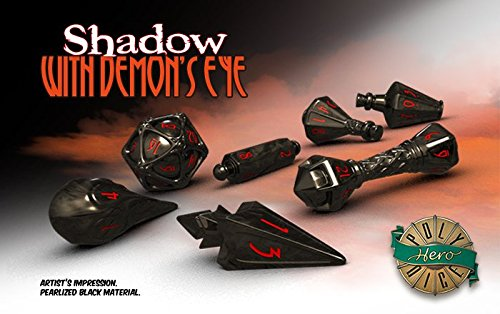 PolyHero Dice: Wizard 7 dice Set: Wizard Shadow/Demon Eye Shadow Bolt