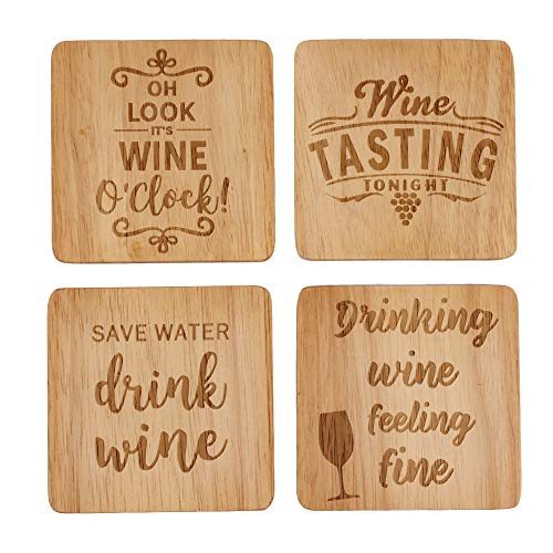 Wine Coaster Set of 4, Wine Lover gifts, Fun Wine Gifts, Wine Gifts for Women, Natural Wood Coasters, Wood Burned Coasters, Funny Housewarming Gifts, Hostess Gifts for Women -