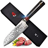 TUO Cutlery Santoku Knife 5.5 inch, Japanese AUS-10 High Carbon Rose Damascus Steel, Asian Kitchen Knife with Ergonomic G10 Handle - RING R Series
