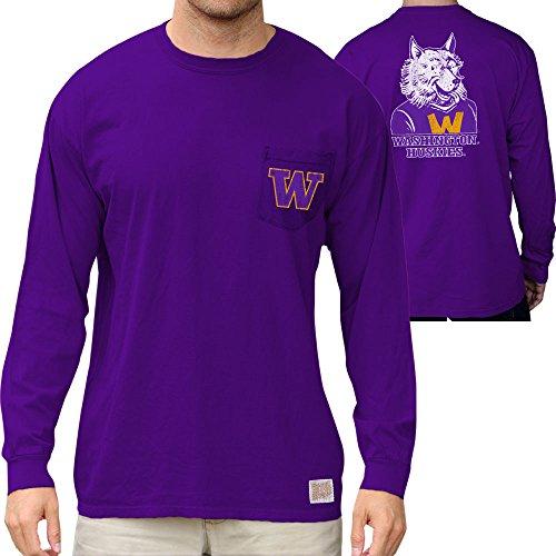 Elite Fan Shop Washington Huskies Retro Pocket Long Sleeve Tshirt Charcoal - XXL
