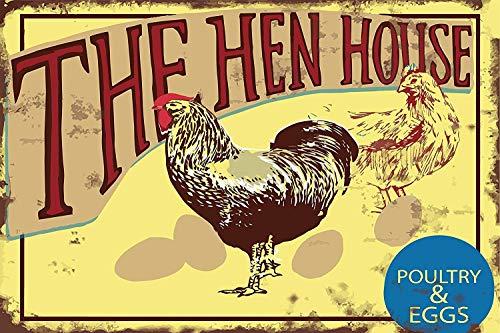 鶏小屋の家禽と卵 金属板ブリキ看板注意サイン情報サイン金属安全サイン警告サイン表示パネル