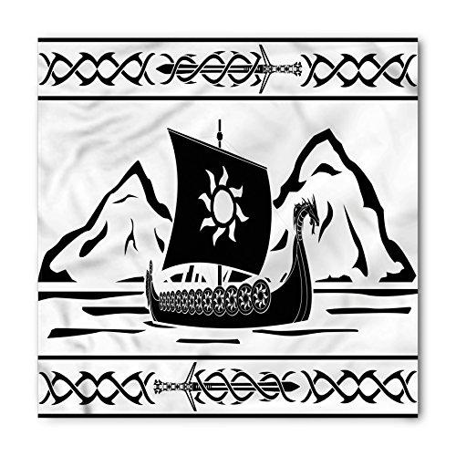 Bandana Frame - Lunarable Unisex Bandana, Viking Ornate Frame with Drakkar, White Black