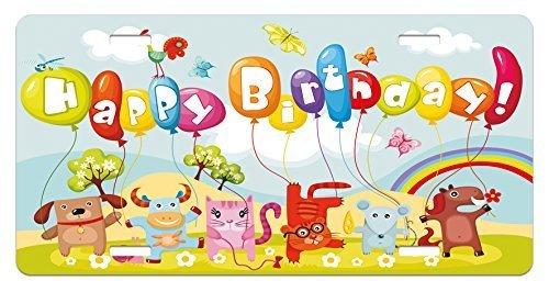 zaeshe3536658 Kids Birthday License Plate, Farm Life Animals Balloons Rainbow Clouds Village Theme Party Fun Art Print, High Gloss Aluminum Novelty Plate, 6 X 12 Inches.