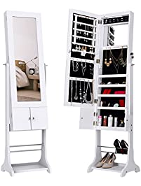 langria led lockable jewelry cabinet fulllength mirrored jewelry armoire free standing with shoe rack