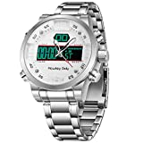 Hawkey Goly Multifunctional Watch Digital Sport Watch for Men Waterproof Chronograph Function Stainless Steel Band Gift for Birthday,Anniversary,Wedding