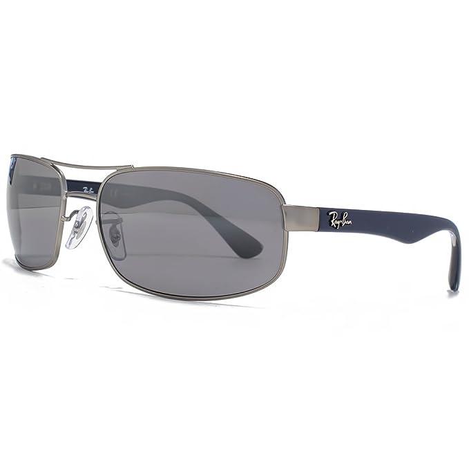 Ray-Ban Gafas de sol de metal rectángulo en Gunmetal plata espejo polarizado RB3445 005