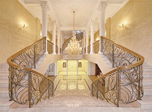 - Leowefowa 10X8FT Castle Backdrop Luxurious Golden Palace Elegant Stair Droplight White Pillar Marble Floor Interior Wedding Vinyl Photography Background Kids Adults Photo Studio Props
