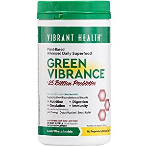 Vibrant Health - Green Vibrance, Plant-Based Daily Superfood + Probiotics and Digestive Enzymes, 30 servings (FFP)