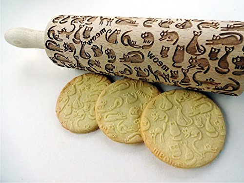 Meow CATS Embossing rolling pin. Wooden embossing rolling pin with cats. Wooden rolling pin for embossed cookies. Gift for Cat lovers