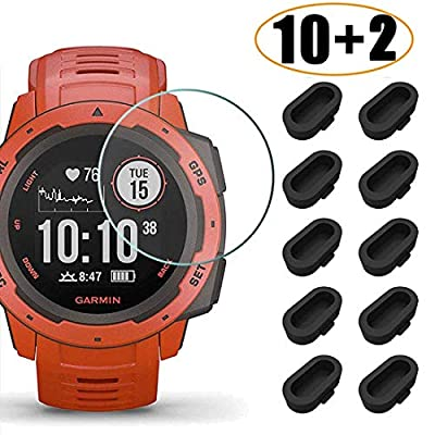 [10+2 Pack] Compatible Garmin Instinct/Instinct Tactical Screen Protector Tempered Glass with Charger Port Protector, Silicone Anti-dust Plug + Waterproof Screen Protective Film for Garmin Instinct: Electronics