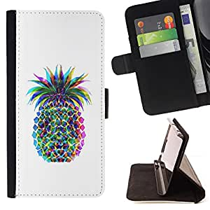 For Apple Iphone 6 PLUS 5.5 Pineapple Colorful Art Drawing Food Style PU Leather Case Wallet Flip Stand Flap Closure Cover