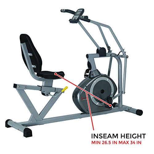 Sunny Health & Fitness Magnetic Recumbent Bike Exercise Bike, 350lb High Weight Capacity, Cross Training, Arm Exercisers, Monitor, Pulse Rate Monitoring - SF-RB4708