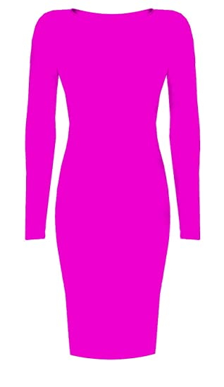 Image Unavailable. Image not available for. Color  Womens Long Sleeved  Scoop Neck Midi Dress ... d4f852fc1