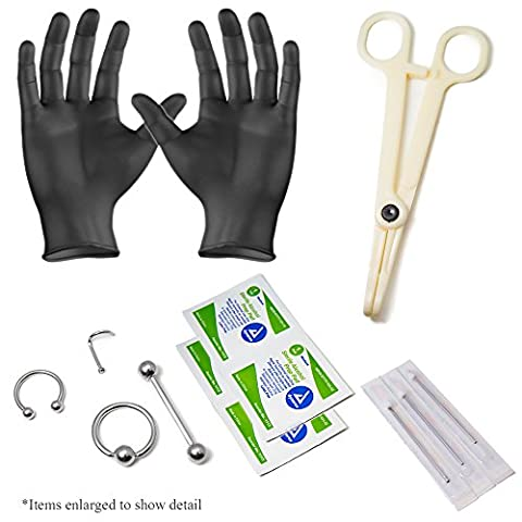 Body Piercing Kit Ear Lip Nose Tongue 18g -16g-14g Piercing Needles 316l Surgical Steel 13pc total By Eg Gifts. - Body Kit Prezzo
