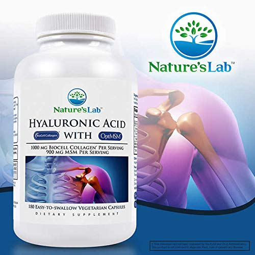 Nature's Lab Hyaluronic Acid with Biocell Collagen and MSM, 180 Count (Pack of 2) ao@qug