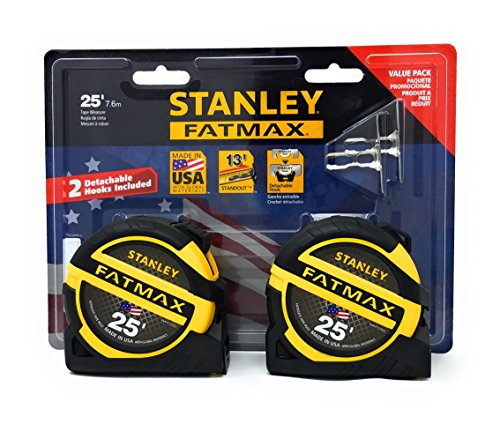 Stanley Hand Tools Fatmax 1-1/4 x 25 Tape Measures (2 Pack) with Detachable Hooks