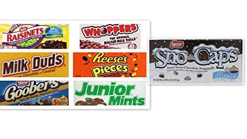 - Movie Theater Candy Bundle (Pack of 7) includes Milk Duds, 5 oz + Whoppers, 5 oz + Junior Mints, 4 oz + Goobers, 3.5 oz + Reese's Pieces, 4 oz + Raisinets, 3.5 oz + Sno Caps, 3.1 oz, 3.1 oz