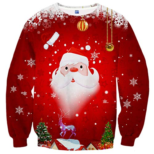 Yasswete Unisex 3D Christmas Santa Claus Pattern Printed Crewneck Pullover Sweatshirts for Boys Girls Size XXL
