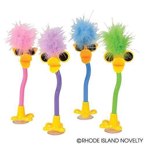 Dozen Assorted Color Plush Feather Boa Topper Duck Design Pens - - With Sunglasses Duck
