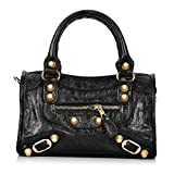 Gold-Tech Women Leather Big Gold Color Studed Motorcycle Bags 38cm Medium Size Shoulder Bag 2 Colors (24cm Black)