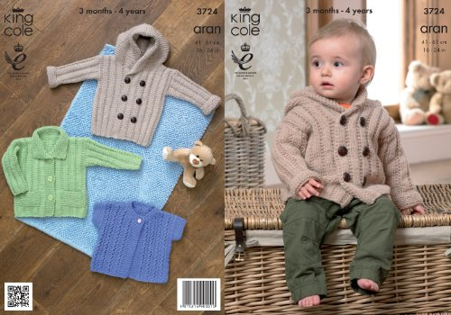 Hooded Sweater Pattern (King Cole Baby Aran Knitting Pattern Kids Hooded Coat Jacket & Lacy Short Sleeve Cardigan 3724 by King)