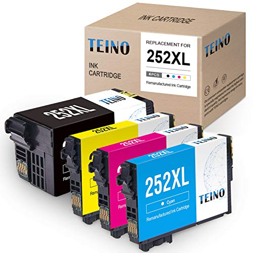 TEINO Remanufactured Ink Cartridges Replacement for Epson 252 252XL 252 XL use with Workforce WF-7710 WF-3640 WF-7720 WF-3620 WF-7620 WF-7610 WF-7210 WF-7110 (Black, Cyan, Magenta, Yellow, 4-Pack) (Epson Workforce Wf3620 Ink)