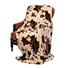 "Regal Comfort Sherpa Luxury Throw Western Style Cow Print (50"" x 70"", Rodeo)"