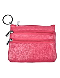 Yeeasy Womens Mini Coin Purse Wallet Genuine Leather Zipper Pouch with Key Ring (Rose)