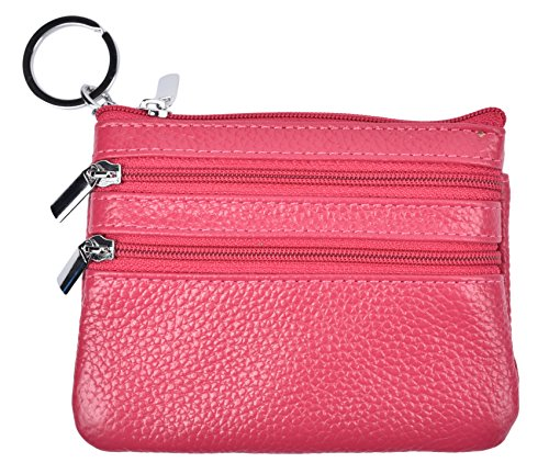 (Yeeasy Womens Mini Coin Purse Wallet Genuine Leather Zipper Pouch with Key Ring (Rose))