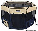 EliteField 2-Door Soft Pet Playpen, Exercise Pen, Multiple Sizes and Colors Available for Dogs, Cats and Other Pets (48'' x 48'' x 32''H, Beige+Navy Blue)