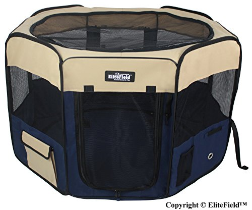 EliteField 2-Door Soft Pet Playpen, Exercise Pen, Multiple Sizes and Colors Available for Dogs, Cats and Other Pets (62″ x 62″ x 36″H, Beige+Navy Blue)