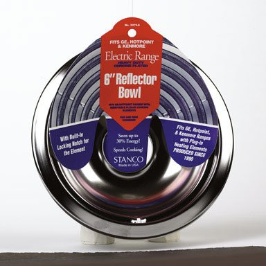 Stanco Range Reflector Bowl Fits Ge, Hotpoint & Kenmore Ranges Produced Since 1990 Hd Chrome, Porcel (Pots Pans And Kenmore)