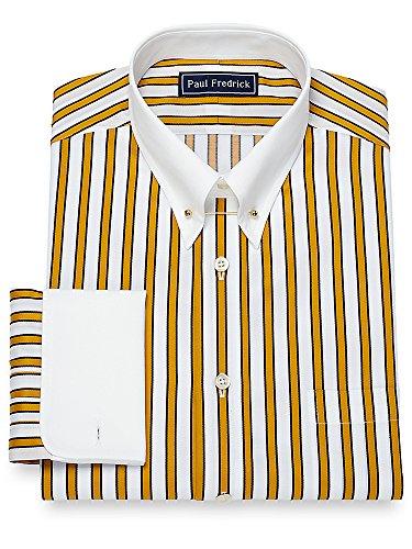 Yellow Black Stripe Shirt (Paul Fredrick Men's Cotton Shadow Stripe Dress Shirt Gold/Black 15.5/33)